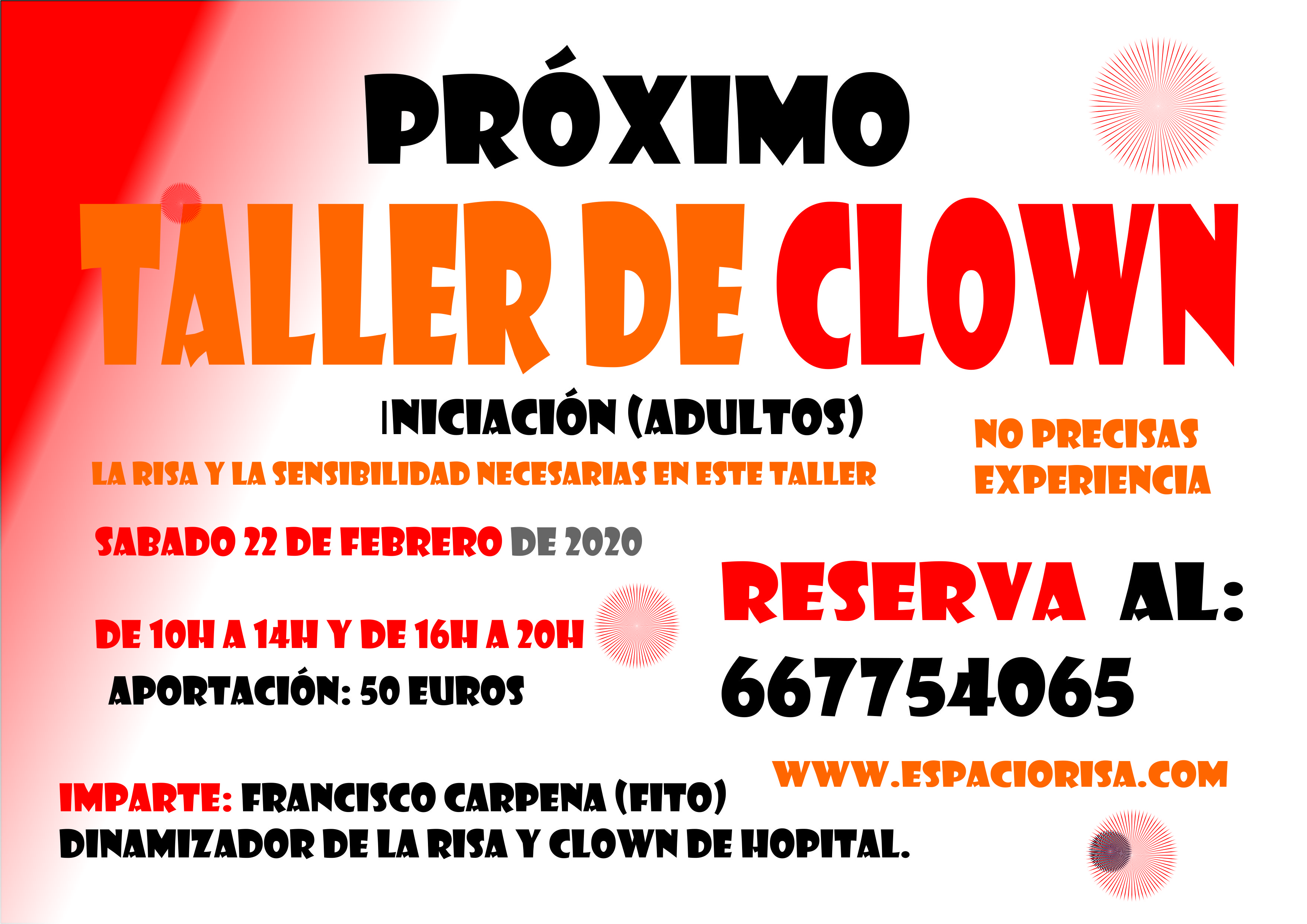Próximo Taller de clown para gente normal, pero auténtica (INICIACIÓN) 22 de Febrero sábado.